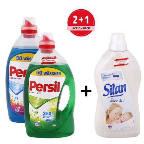 PERSIL univerzálny + color gél 2x 50 praní + ZDARMA Silan aviváž Sensitiv 1,5 l